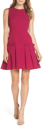 Eliza J Drop Waist Pleated Dress