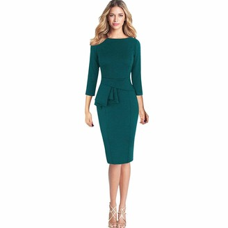 MRULIC Spring Office Women Elegant Frill Peplum 3/4 Gown Sleeve Work Business Party Sheath Dress Pencil Dress(Green UK-14/CN-XL)