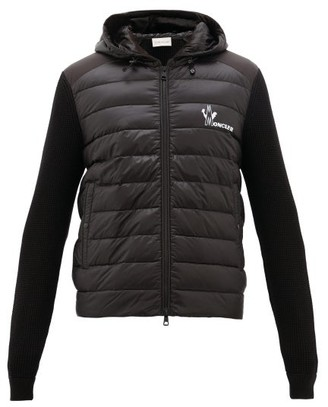 Moncler Knitted-panel Down-filled Shell Jacket - Black