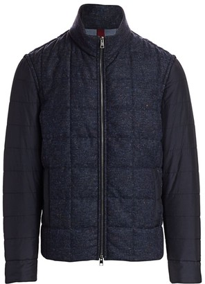 Saks Fifth Avenue COLLECTION Quilted Mixed Media Puff Jacket