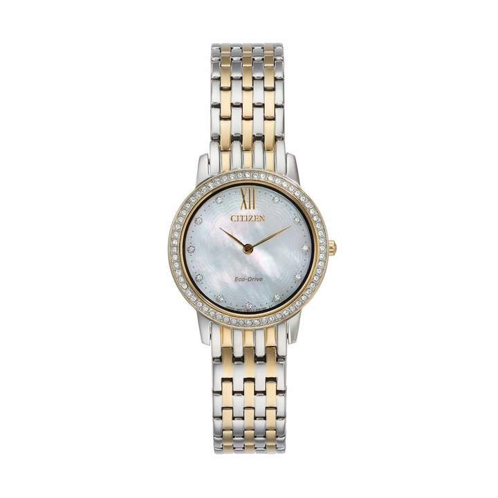 Citizen Eco-Drive Women's Silhouette Crystal Two Tone Stainless Steel Watch - EX1484-57D
