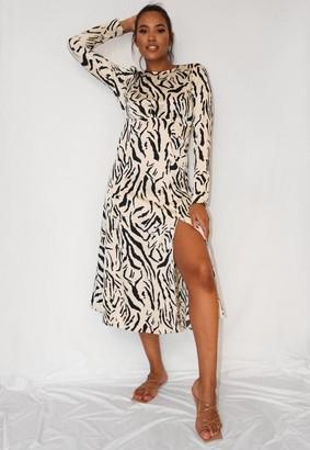 Missguided Cream Zebra Print Ruched Bust Midi Dress