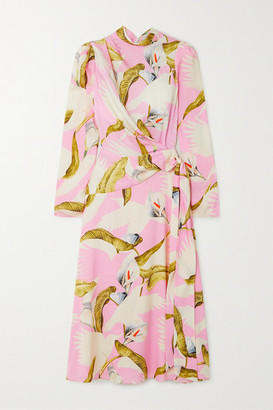 Temperley London Theodora Tie-front Printed Silk-blend Midi Dress - Baby pink