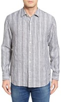 Tommy Bahama Men's Ricky Jacquardo Standard Fit Stripe Linen & Cotton Sport Shirt