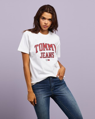 Tommy Jeans Women's White Printed T-Shirts - Collegiate Logo Tee - Size XS at The Iconic