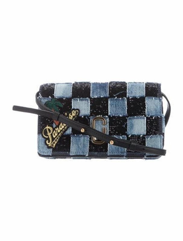 Marc Jacobs Denim Patchwork Crossbody Bag Blue