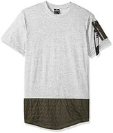 Southpole Men's Short Sleeve Scallop Tee With Utility Detail Scallop Bottom and Sleeve Pocket