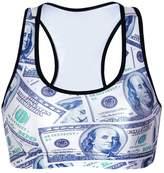 Pink Queen Women's Printed Sports Bra Vest Crop Top(M)
