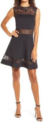 SHO Lace Trim Fit & Flare Dress