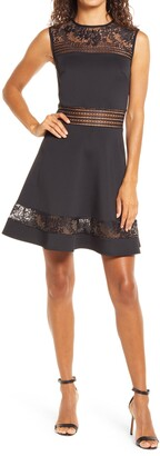 Tadashi Shoji Lace Trim Fit & Flare Dress