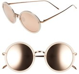 Linda Farrow Women's 51Mm Round 18 Karat Rose Gold Trim Sunglasses - Milky Pink/ Rose Gold