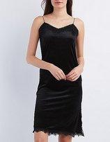 Charlotte Russe Lace-Trim Velvet Slip Shift Dress