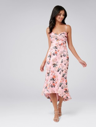 Forever New Rosetta Fishtail Dress - Pink Base Print - 4