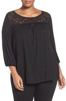 Sejour Plus Size Women's Lace Yoke Top