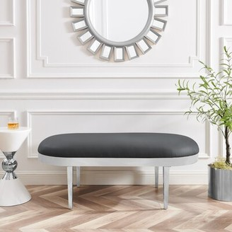 Everly Quinn Seagle Faux Leather Bench Upholstery: Gray, Color: Gray
