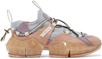 Jimmy Choo Diamond Trail Suede, Leather And Stretch-mesh Sneakers