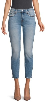 7 For All Mankind Braided Pocket Super-Skinny Cropped Jeans