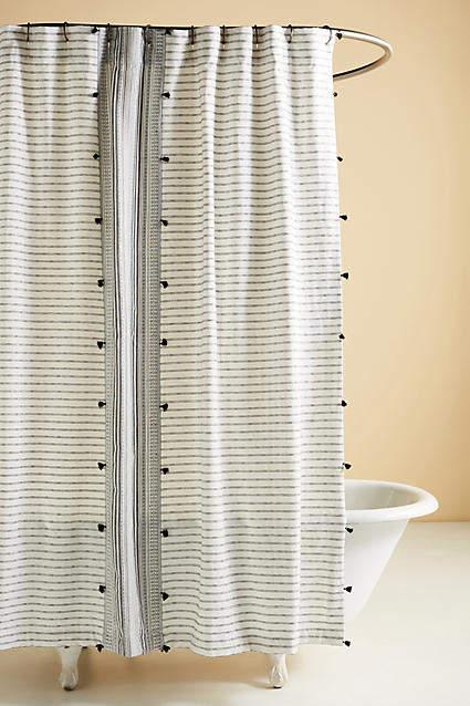 Anthropologie Tasseled Pendana Shower Curtain