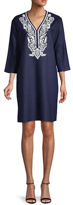 Saks Fifth Avenue Embroidered Linen Shift Dress