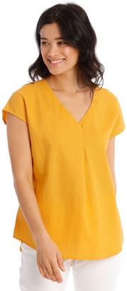 Regatta xtended Short Sleeve Linen Blend Woven V-Neck Pleat Front Top
