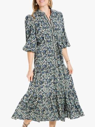Max Studio Puff Sleeve Floral Print Tea Dress, Multi