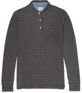 Faherty Striped Indigo-dyed Cotton-jersey Polo Shirt