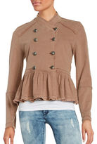 Free People Ruffle-Trimmed Military Jacket