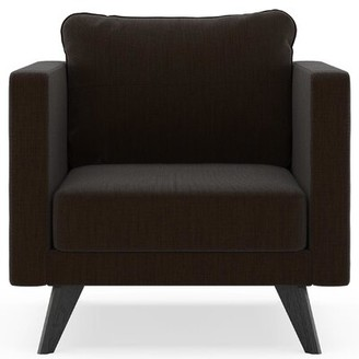 Corrigan Studio Criner Armchair Fabric: Espresso Polyester Blend, Leg Color: Black