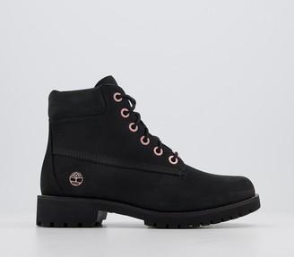 Timberland Slim Premium 6 Inch Boots Black Rose Gold Chain
