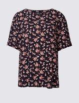 Twiggy Floral Print Kimono Short Sleeve Shell Top
