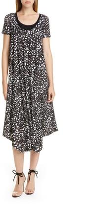 Fuzzi Graphic Leopard Print Asymmetrical Shift Dress