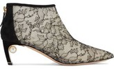 Nicholas Kirkwood Mira 55 Embellished Suede And Chantilly Lace Ankle Boots