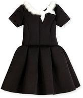 Zoë Ltd Short-Sleeve Pleated Fit-and-Flare Scuba Dress, Black, Size 7-16
