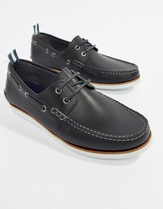Asos Design DESIGN boat shoes in navy leather with white sole