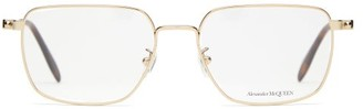 Alexander McQueen D-frame Metal And Tortoiseshell-acetate Glasses - Gold