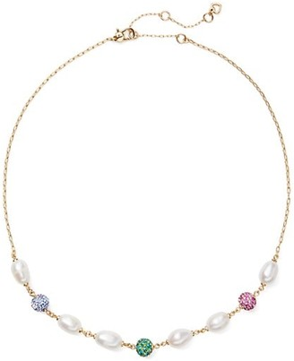 Kate Spade 9MM Freshwater Pearl & Pave Bead Station Collar Necklace