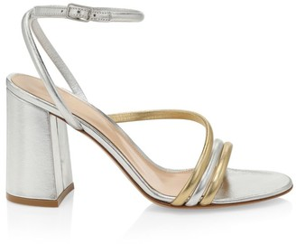 Gianvito Rossi Bekah Block-Heel Metallic Leather Sandals