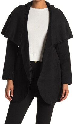 Tahari Marilyn Shawl Collar Tie Waist Wool Blend Coat