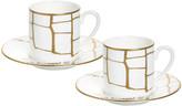 N. Prouna Alligator Espresso Cups & Crystal Saucers, Set of 2