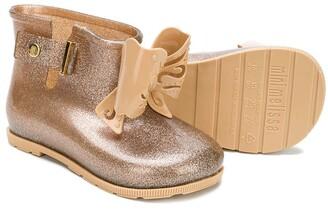 Mini Melissa Glitter Bow Wellington Boots