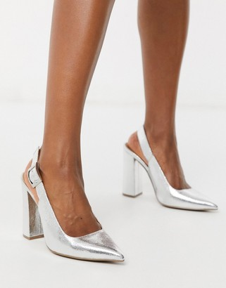 ASOS DESIGN Planet slingback high block heels in silver crackle