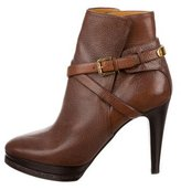 Ralph Lauren Leather Logo-Embellished Ankle Boots