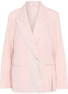 ADEAM Iridescent Satin-paneled Wool-blend Blazer