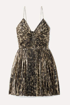 Saint Laurent Pleated Leopard-print Silk-blend Lamé Mini Dress - Leopard print