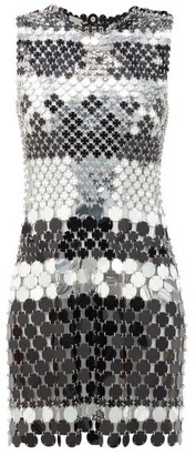 Paco Rabanne Sequinned Chainmail Mini Dress - Black Silver