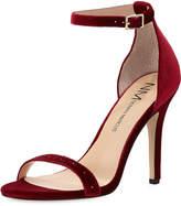 Neiman Marcus Baicho High-Heel Velvet Sandal, Burgundy