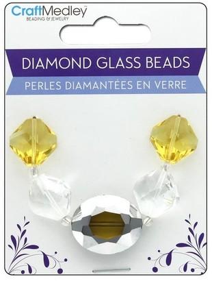 Multicraft Glass Bead Strand Oval/Diamond Amber - Medium