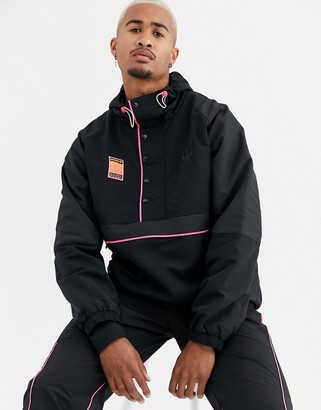 adidas adiplore half zip jacket with hood in black