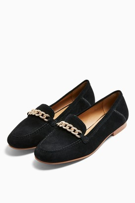 Topshop WIDE FIT LEO Black Leather Chain Trim Loafers