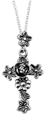 Or Paz Sterling Floral Design Cross Pendant w/C hain